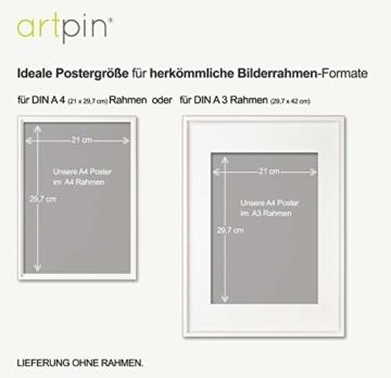 artpin® 4er Set Poster Kinderzimmer - A4 Bilder Babyzimmer - Deko Mädchen (P42) - 8
