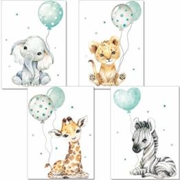 artpin® Poster Kinderzimmer Deko - Bilder Babyzimmer Mint Grau für Junge Mädchen - Safari Dschungel Tierposter Luftballon P63 - 1