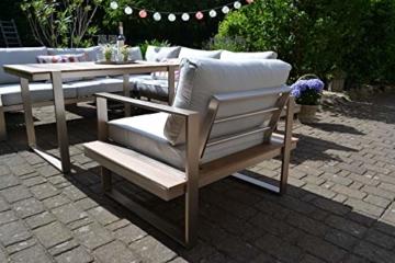 bomey Dining Ecklounge Atlanta in Braun I Lounge-Set bestehend aus einem Sessel und Ecksofa in braun, Tisch im Edelstahl/Teak Design & Polstern in Beige I Garten + Terrasse + Wintergarten - 4