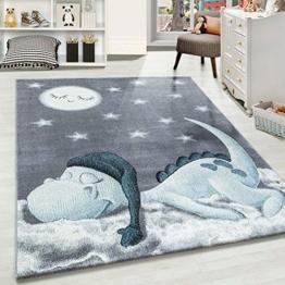Carpetsale24 Kinderteppich » BAMBIX «, Kinderzimmerteppich, Dino Wolke Figur Kinderzimmer Babyzimmer,7 mm, Rechteckig, BLAU, Maße:160 cm x 230 cm - 1
