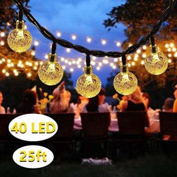 DeepDream Solar Lichterkette Aussen 7.5M 40LED Kristall Kugeln 8 Modi Warmweiß, Außenlichterkette Wasserdicht Deko für Garten, Bäume, Weihnachten, Hochzeiten, Partys[Energieklasse A++] - 1