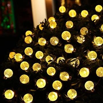DeepDream Solar Lichterkette Aussen 7.5M 40LED Kristall Kugeln 8 Modi Warmweiß, Außenlichterkette Wasserdicht Deko für Garten, Bäume, Weihnachten, Hochzeiten, Partys[Energieklasse A++] - 5