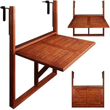 Deuba Balkonhängetisch Klappbar FSC®-zertifiziertes Akazienholz Hängend 64 x 45 cm Balkontisch Hängetisch Balkon Geländer - 4