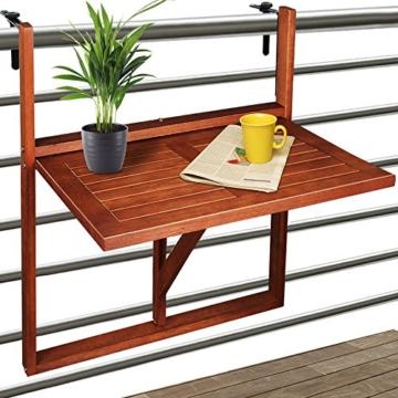 Deuba Balkonhängetisch Klappbar FSC®-zertifiziertes Akazienholz Hängend 64 x 45 cm Balkontisch Hängetisch Balkon Geländer - 1