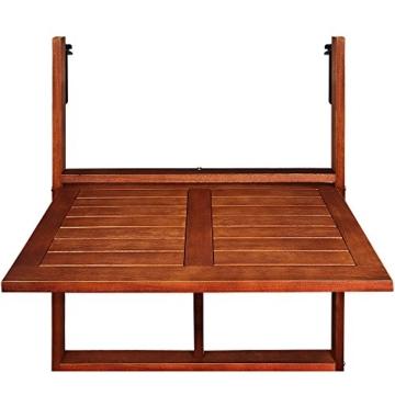 Deuba Balkonhängetisch Klappbar FSC®-zertifiziertes Akazienholz Hängend 64 x 45 cm Balkontisch Hängetisch Balkon Geländer - 5