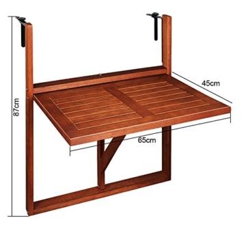 Deuba Balkonhängetisch Klappbar FSC®-zertifiziertes Akazienholz Hängend 64 x 45 cm Balkontisch Hängetisch Balkon Geländer - 7
