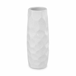 Dr.Cerart Moderne Deko Vase Blumenvase Bodenvase Weiß - 1