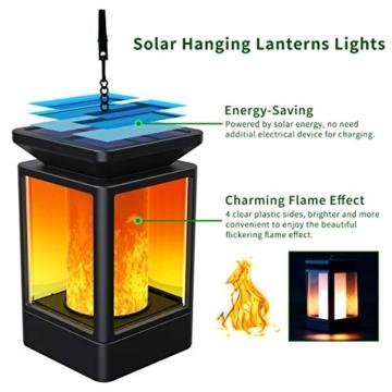 Fortand Solar Laterne Gartenlaternen Solarlaterne für außen LED Solarlaterne Garten Flammenlampe,3Mode mit Flamme Wirkung für Deko Garten Auto On/Off (2 Stück) - 2