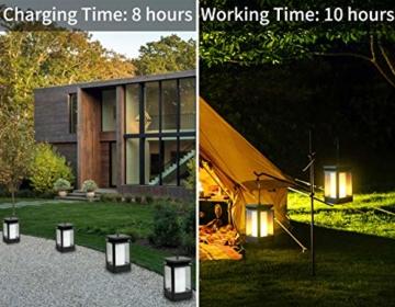 Fortand Solar Laterne Gartenlaternen Solarlaterne für außen LED Solarlaterne Garten Flammenlampe,3Mode mit Flamme Wirkung für Deko Garten Auto On/Off (2 Stück) - 3