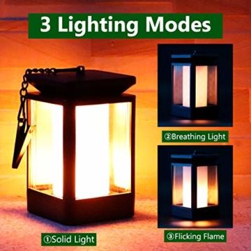 Fortand Solar Laterne Gartenlaternen Solarlaterne für außen LED Solarlaterne Garten Flammenlampe,3Mode mit Flamme Wirkung für Deko Garten Auto On/Off (2 Stück) - 4