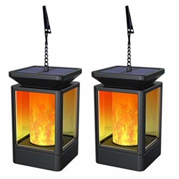 Fortand Solar Laterne Gartenlaternen Solarlaterne für außen LED Solarlaterne Garten Flammenlampe,3Mode mit Flamme Wirkung für Deko Garten Auto On/Off (2 Stück) - 1