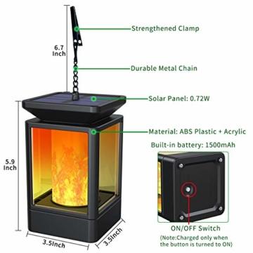 Fortand Solar Laterne Gartenlaternen Solarlaterne für außen LED Solarlaterne Garten Flammenlampe,3Mode mit Flamme Wirkung für Deko Garten Auto On/Off (2 Stück) - 5