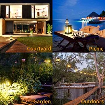 Fortand Solar Laterne Gartenlaternen Solarlaterne für außen LED Solarlaterne Garten Flammenlampe,3Mode mit Flamme Wirkung für Deko Garten Auto On/Off (2 Stück) - 7
