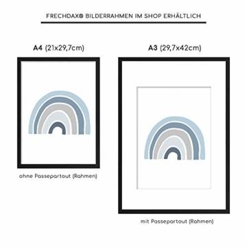 Frechdax® 3er Set Kinderzimmer Poster Babyzimmer DIN A4 ohne Bilderrahmen | Mädchen Junge | Kinderposter Bilder (3er Set Blau, Alphabet, Regenbogen) - 2