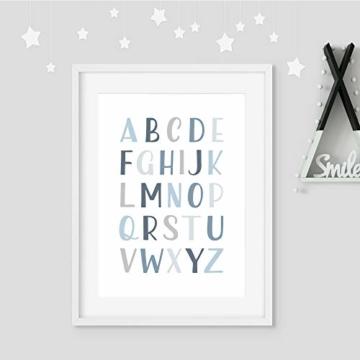 Frechdax® 3er Set Kinderzimmer Poster Babyzimmer DIN A4 ohne Bilderrahmen | Mädchen Junge | Kinderposter Bilder (3er Set Blau, Alphabet, Regenbogen) - 3