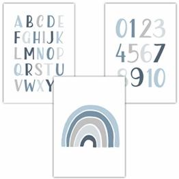 Frechdax® 3er Set Kinderzimmer Poster Babyzimmer DIN A4 ohne Bilderrahmen | Mädchen Junge | Kinderposter Bilder (3er Set Blau, Alphabet, Regenbogen) - 1