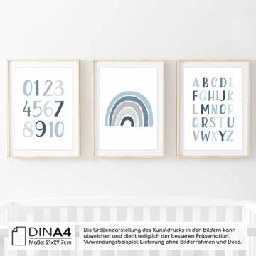 Frechdax® 3er Set Kinderzimmer Poster Babyzimmer DIN A4 ohne Bilderrahmen | Mädchen Junge | Kinderposter Bilder (3er Set Blau, Alphabet, Regenbogen) - 4