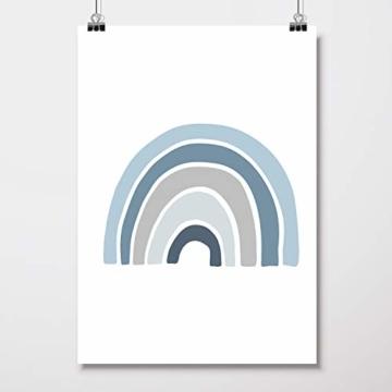 Frechdax® 3er Set Kinderzimmer Poster Babyzimmer DIN A4 ohne Bilderrahmen | Mädchen Junge | Kinderposter Bilder (3er Set Blau, Alphabet, Regenbogen) - 6