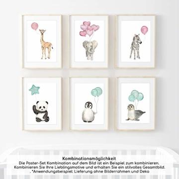 Frechdax® Wandbilder 3er Set für Babyzimmer Deko Poster (3er Set Rosa, Elefant, Giraffe, Zebra) - 2