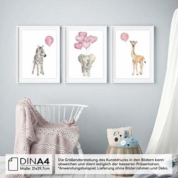 Frechdax® Wandbilder 3er Set für Babyzimmer Deko Poster (3er Set Rosa, Elefant, Giraffe, Zebra) - 3