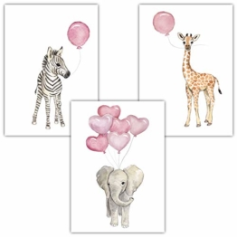 Frechdax® Wandbilder 3er Set für Babyzimmer Deko Poster (3er Set Rosa, Elefant, Giraffe, Zebra) - 1