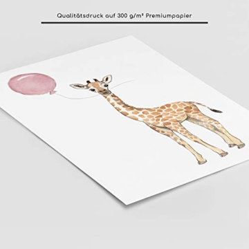 Frechdax® Wandbilder 3er Set für Babyzimmer Deko Poster (3er Set Rosa, Elefant, Giraffe, Zebra) - 4