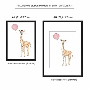 Frechdax® Wandbilder 3er Set für Babyzimmer Deko Poster (3er Set Rosa, Elefant, Giraffe, Zebra) - 5