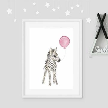 Frechdax® Wandbilder 3er Set für Babyzimmer Deko Poster (3er Set Rosa, Elefant, Giraffe, Zebra) - 6