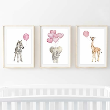 Frechdax® Wandbilder 3er Set für Babyzimmer Deko Poster (3er Set Rosa, Elefant, Giraffe, Zebra) - 7