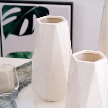 HCHLQLZ 20cm Weiß Marmor Vase Keramik Vasen Blumenvase Deko Dekoration - 2