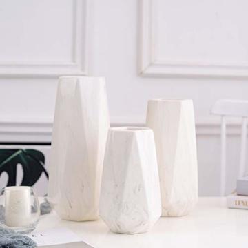 HCHLQLZ 20cm Weiß Marmor Vase Keramik Vasen Blumenvase Deko Dekoration - 3