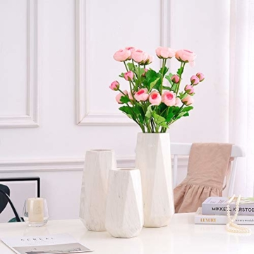 HCHLQLZ 20cm Weiß Marmor Vase Keramik Vasen Blumenvase Deko Dekoration - 4
