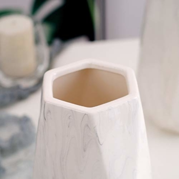 HCHLQLZ 20cm Weiß Marmor Vase Keramik Vasen Blumenvase Deko Dekoration - 5