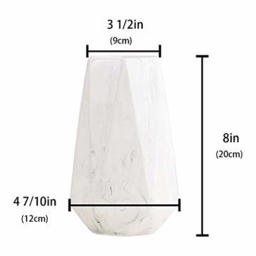 HCHLQLZ 20cm Weiß Marmor Vase Keramik Vasen Blumenvase Deko Dekoration - 6