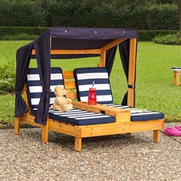 KidKraft 00524 Doppelte Sonnenliege mit Getränkehaltern Doppelliege, Chaiselongue aus Holz, Honigfarben - 6