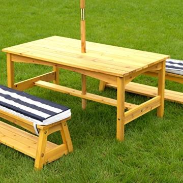 KidKraft 106 Gartentischset mit Bank, Kissen und Sonnenschirm Gartenmöbel für Kinder-Streifenmuster, Naturfarben - 2