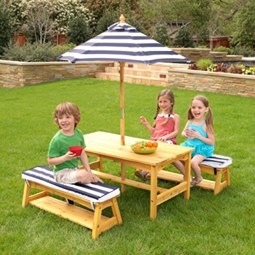 KidKraft 106 Gartentischset mit Bank, Kissen und Sonnenschirm Gartenmöbel für Kinder-Streifenmuster, Naturfarben - 3