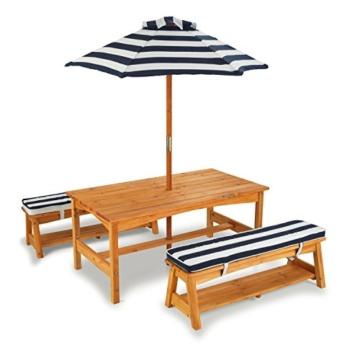 KidKraft 106 Gartentischset mit Bank, Kissen und Sonnenschirm Gartenmöbel für Kinder-Streifenmuster, Naturfarben - 4