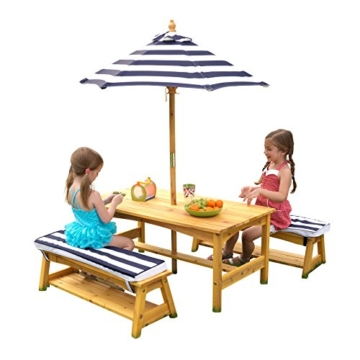 KidKraft 106 Gartentischset mit Bank, Kissen und Sonnenschirm Gartenmöbel für Kinder-Streifenmuster, Naturfarben - 1
