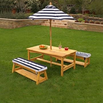 KidKraft 106 Gartentischset mit Bank, Kissen und Sonnenschirm Gartenmöbel für Kinder-Streifenmuster, Naturfarben - 5