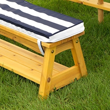 KidKraft 106 Gartentischset mit Bank, Kissen und Sonnenschirm Gartenmöbel für Kinder-Streifenmuster, Naturfarben - 6