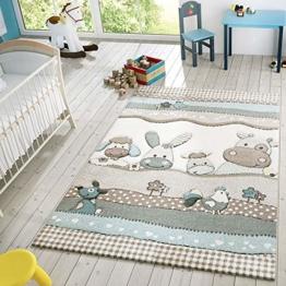 Kinder Teppich Moderner Spielteppich Bauernhof Tiere Pastell Töne In Beige Creme, Größe:120x170 cm - 1