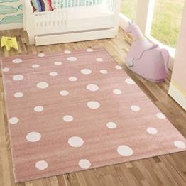 Kinderteppich DOTS l Pünktchen Gepunktet l Öko-Tex Siegel | Farbe: Beige Blau Rosa | Kinderzimmer / Jugendzimmer - 1