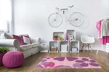 Kinderteppich Mädchen Kinderzimmer Blumen Design komplett umkettelt strapazierfähig pflegeleicht – hellrosa 80 x 150 cm - 2