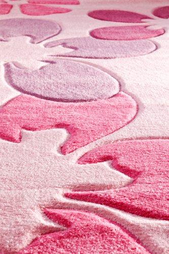 Kinderteppich Mädchen Kinderzimmer Blumen Design komplett umkettelt strapazierfähig pflegeleicht – hellrosa 80 x 150 cm - 4