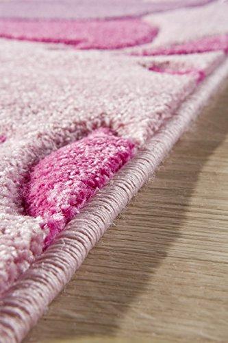 Kinderteppich Mädchen Kinderzimmer Blumen Design komplett umkettelt strapazierfähig pflegeleicht – hellrosa 80 x 150 cm - 5