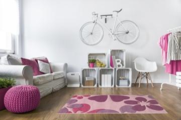 Kinderteppich Mädchen Kinderzimmer Blumen Design komplett umkettelt strapazierfähig pflegeleicht – hellrosa 80 x 150 cm - 8