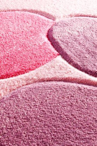 Kinderteppich Mädchen Kinderzimmer Blumen Design komplett umkettelt strapazierfähig pflegeleicht – hellrosa 80 x 150 cm - 9
