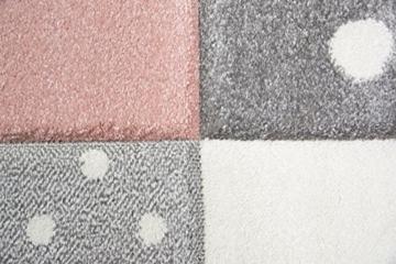 Kinderteppich Spielteppich Teppich Kinderzimmer Babyteppich mit Herz Stern in Rosa Weiss Grau Größe 80x150 cm - 2