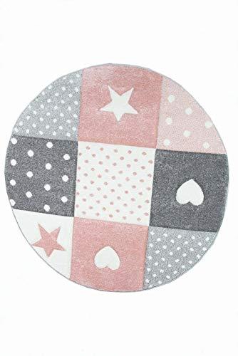 Kinderteppich Spielteppich Teppich Kinderzimmer Babyteppich mit Herz Stern in Rosa Weiss Grau Größe 80x150 cm - 3